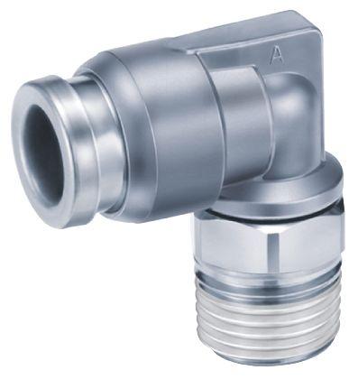 SMC镀镍黄铜直角气动弯管螺纹-管适配器KQB2L06-03S系列